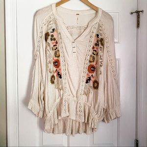 New Free People Over Sized Embroidered Blouse